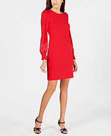 Calvin Klein Embellished Puff-Sleeve Dress