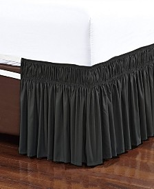 Wrap Around Bed Skirt, Elastic Dust Ruffle Easy Fit, Wrinkle and Fade Resistant, Queen