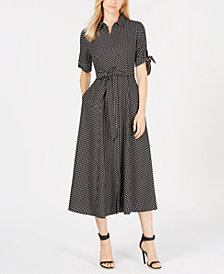 Calvin Klein Petite Polka Dot Belted Maxi Shirtdress