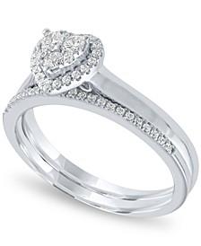 Diamond Heart Halo Bridal Set (1/3 ct. t.w.) in 14k White Gold