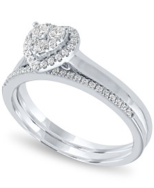 Diamond Heart Halo Bridal Set (1/3 ct. t.w.) in 14k White Gold