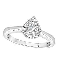 Diamond Pear Halo Ring (1/3 ct. t.w.) in 14k White Gold
