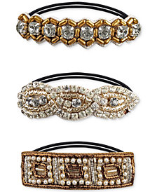 Deepa Two-Tone 3-Pc. Set Crystal, Imitation Pearl & Bead Ponytail Holders