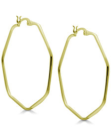 Essentials Hexagon Large Hoop Earrings in Gold Plate