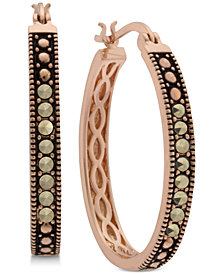 Marcasite Hoop Earrings in Rose Gold-Plate