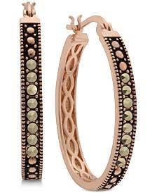 Marcasite Hoop Earrings in Rose Gold-Plate