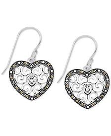Marcasite Filigree Heart Drop Earrings in Fine Silver Plate