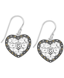 Marcasite Filigree Heart Drop Earrings in Fine Silver Plate