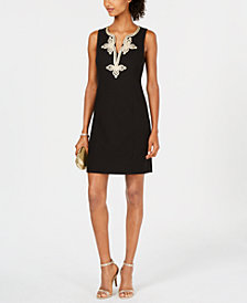 Pappagallo Metallic-Embroidered Shift Dress