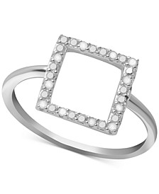 Diamond Square Ring (1/10 ct. t.w.) in Sterling Silver