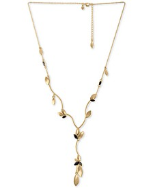 "Gold-Tone Crystal & Petal Lariat Necklace, 18"" + 2"" extender"