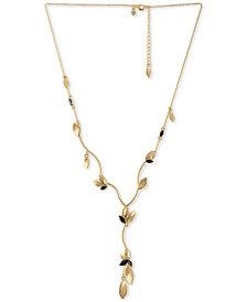 """RACHEL Rachel Roy Gold-Tone Crystal & Petal Lariat Necklace, 18"""" + 2"""" extender"""