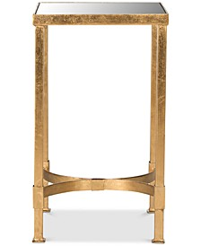 Halyn Gold Leaf Mirror Top End Table