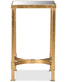 Halyn Gold Leaf Mirror Top End Table, Quick Ship