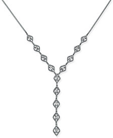 "I.N.C. Silver-Tone Crystal Lariat Necklace, 18"" + 3"" extender, Created for Macy's"
