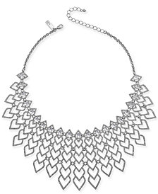 "I.N.C. Silver-Tone Pavé Heart Statement Necklace, 16"" + 3"" extender, Created for Macy's"