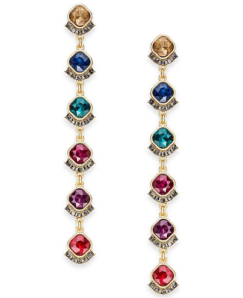 INC International Concepts INC Gold-Tone Multi-Crystal Linear Drop Earrings, Created for Macy's