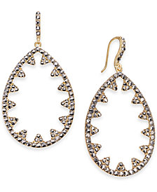 "I.N.C. Large 2"" Hematite-Tone Pavé Open Drop Earrings, Created for Macy's"