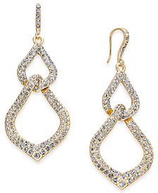 I.N.C. Gold-Tone Pavé Interlocking Link Drop Earrings, Created for Macy's