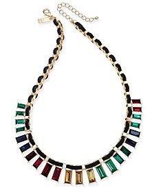 "I.N.C. Gold-Tone Multicolor Baguette Crystal Velvet-Woven Statement Necklace, 18"" + 3"" extender, Created for Macy's"