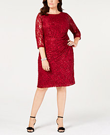 Jessica Howard Plus Size Ruched Embellished Lace Dress