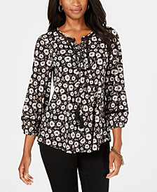 Style & Co Printed Mesh Peasant Top, Created for Macy's