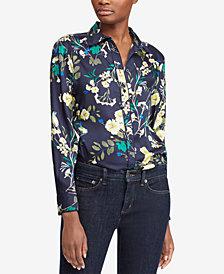 Ralph Lauren Petite Floral-Print Twill Shirt