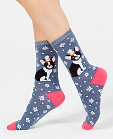 Charter Club Women's Frenchie Dog Crew Socks, Created for Macy's