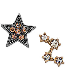 lonna & lilly Two-Tone Crystal Star Mismatch Stud Earrings