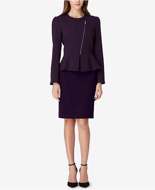 Zippered Peplum Skirt Suit