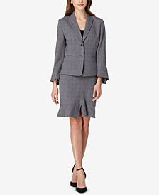 Tahari ASL Plaid Ruffled Skirt Suit