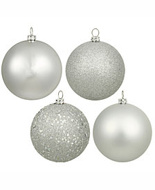 "2.4"" Silver 4-Finish Ball Christmas Ornament, 24 per Box"