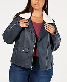 Plus Size Faux-Leather Fleece-Trimmed Moto Jacket