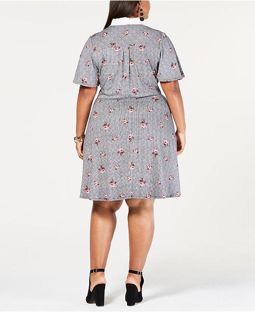 Monteau Trendy Plus Size Collared Faux Wrap Dress Dresses Plus