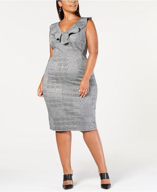 Trendy Plus Size Ruffled Bodycon Dress