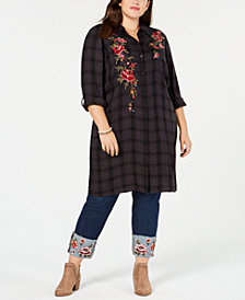 Style & Co Plus Size Plaid Embroidered Long Shirt, Created for Macy's