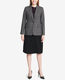 Calvin Klein Plaid Blazer, Lace Top & Pleated Skirt