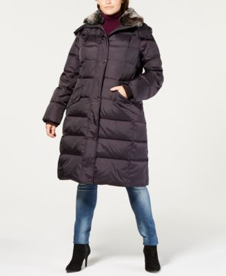 Plus Size Faux-Fur-Collar Hooded Puffer Coat