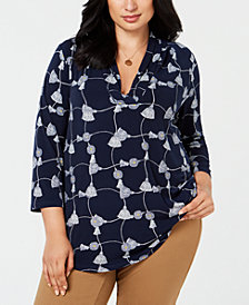 Charter Club Plus Size Tassel-Print Shirt, Created for Macy's