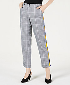 PROJECT 28 NYC Menswear Plaid Side-Striped Pants