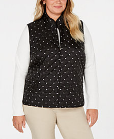 Karen Scott Plus Size Polka-Dot Quilted Vest, Created for Macy's