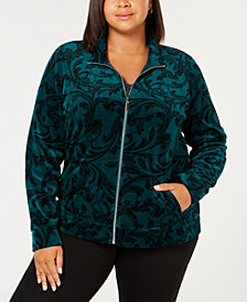 Karen Scott Plus Size Printed Jacket, Created for Macy's