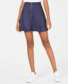 Ultra Flirt by Ikeddi Juniors' Zip-Front Marled Skater Skirt