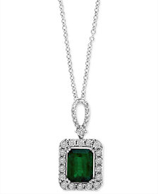 "EFFY® Emerald (2-1/5 ct. t.w.) & Diamond (1/4 ct. t.w.) 18"" Pendant Necklace in 14k White Gold"