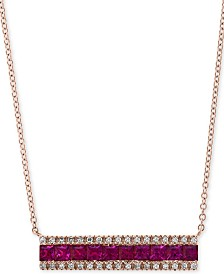"EFFY® Ruby (1-1/4 ct. t.w.) & Diamond (1/8 ct. t.w.) Horizontal Bar 18"" Pendant Necklace in 14k Rose Gold"