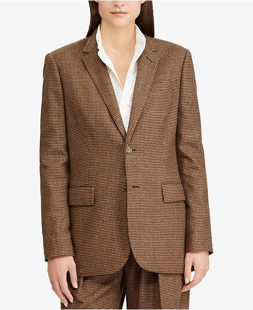 owner Abnormal Defile  Polo Ralph Lauren Houndstooth Tweed Blazer & Reviews - Jackets & Blazers -  Women - Macy's