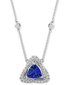 "EFFY® Tanzanite (3/4 ct. t.w.) & Diamond (1/4 ct. t.w.) 18"" Pendant Necklace in 14k White Gold"