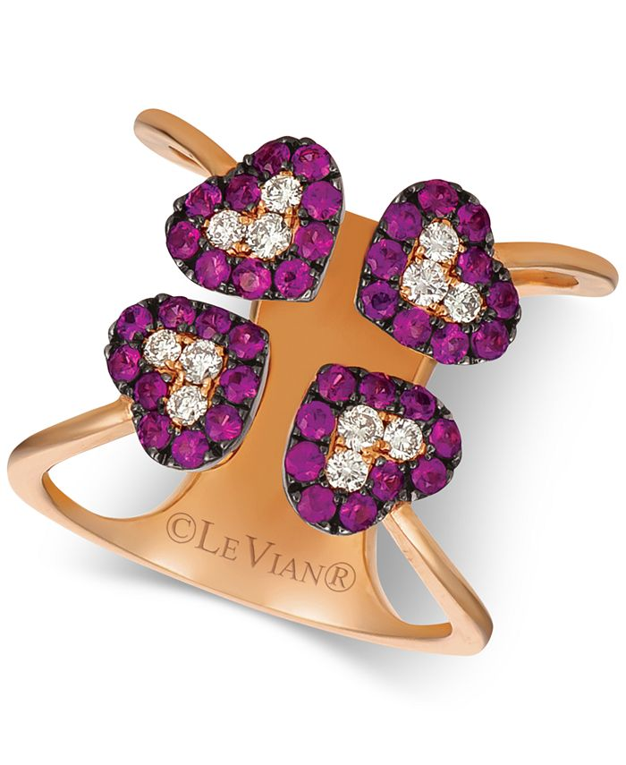 Le Vian - Ruby (3/4 ct. t.w.) & Diamond (1/4 ct. t.w.) Heart Ring in 14k Rose Gold