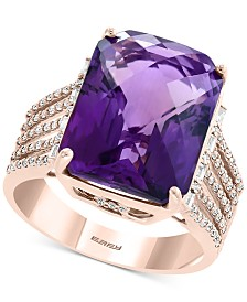 EFFY® Amethyst (10-7/8 ct. t.w.) & Diamond (1/3 ct. t.w.) Statement Ring in 14k Rose Gold