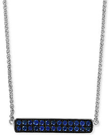 "EFFY® Sapphire Cluster Horizontal Bar 18"" Pendant Necklace (5/8 ct. t.w.) in Sterling Silver"